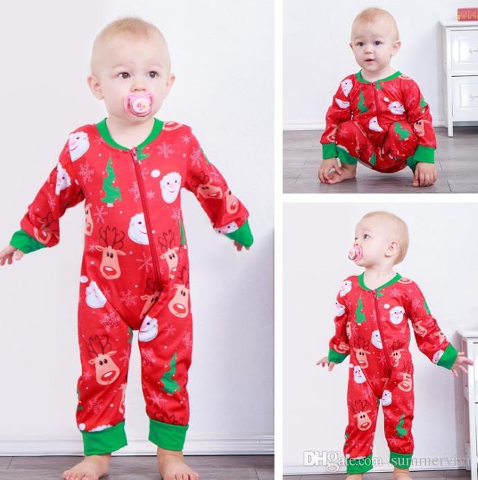 842e21f3623 Christmas Baby Boys Romper Girls Xmas Reindeer Santa Claus Printed Jumpsuits  Infant Kids Round Collar Long Sleeve Zipper Rompers F2258 Baby Xmas  Reindeer ...