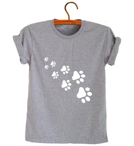 5e9414ddf Women's Tee Cat Paws Print Women Tshirt Cotton Casual Funny T Shirt For  Lady Top Tee Hipster Gray Black White Drop Ship Z - 326