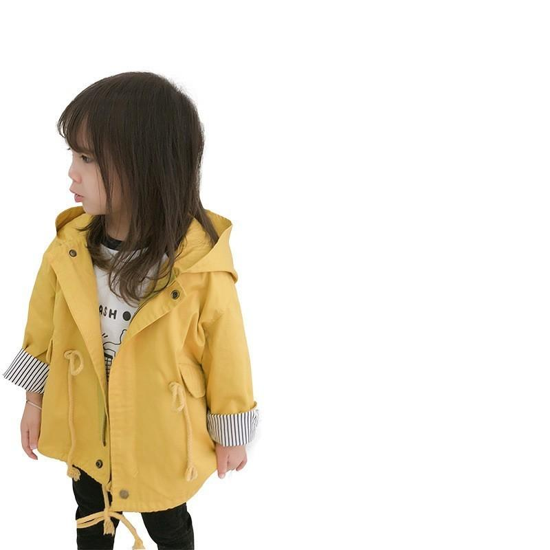 67ad84fd7 Toddler Baby Outwear Yellow Fashion Hooded Windbreaker For Girls ...