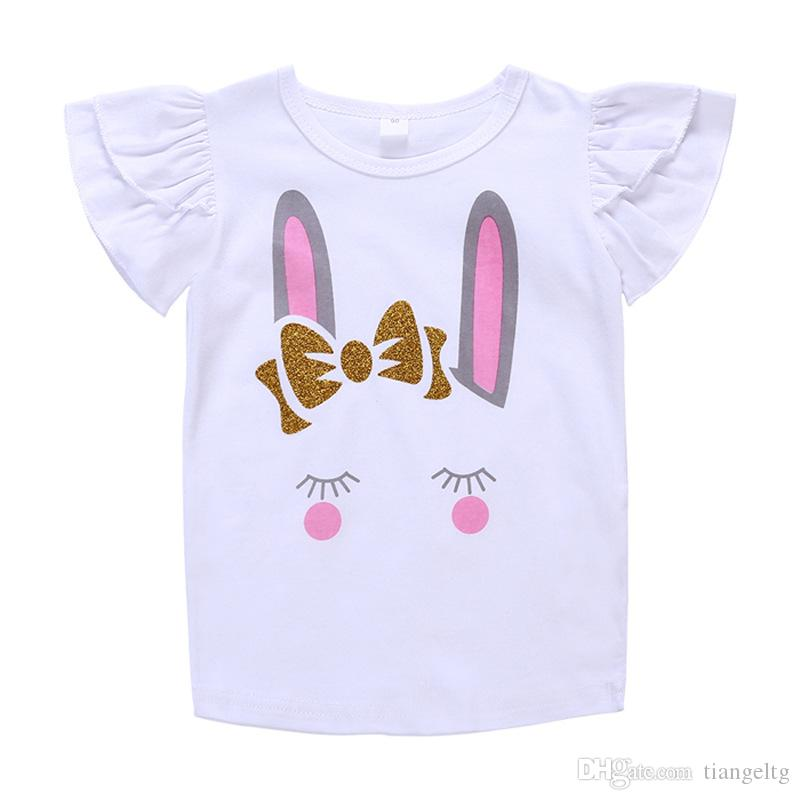 New T-shirt Skirt Suits Baby Girls Two-piece Clothing Sets Rabbit Cartoon Printed Shirt Pink Short TUTU Skirt Cotton Breathable Summer 1-5T