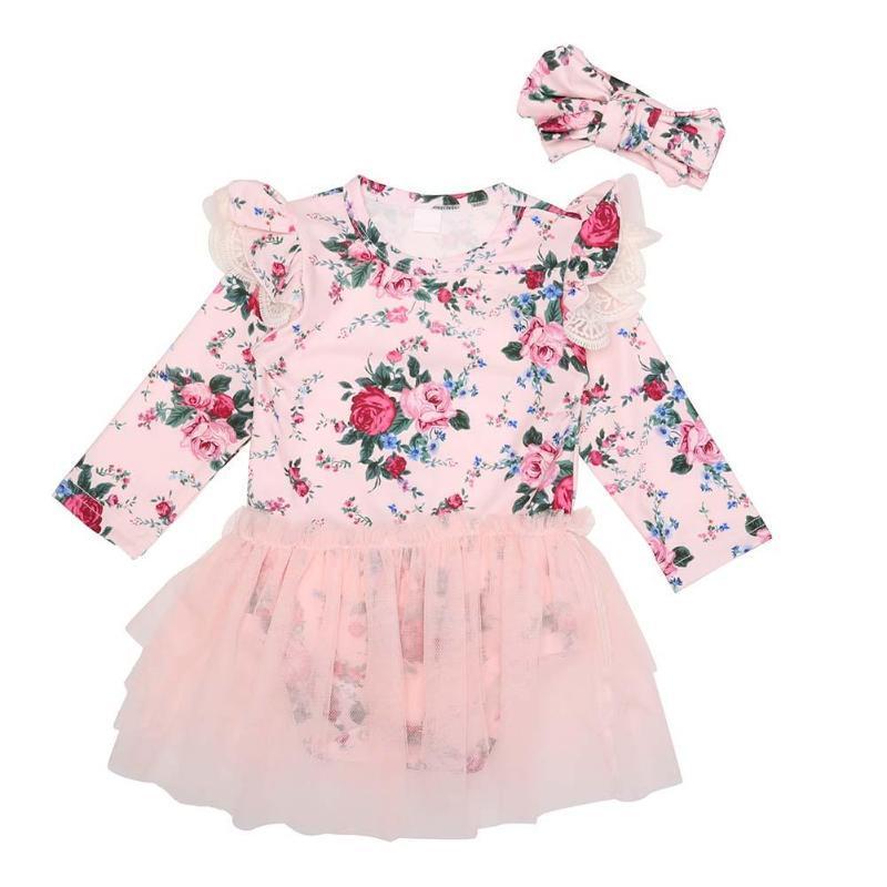 53b366994d5c Baby Flower Princess Dress Fashion Cotton Newborn Girl Romper Long ...