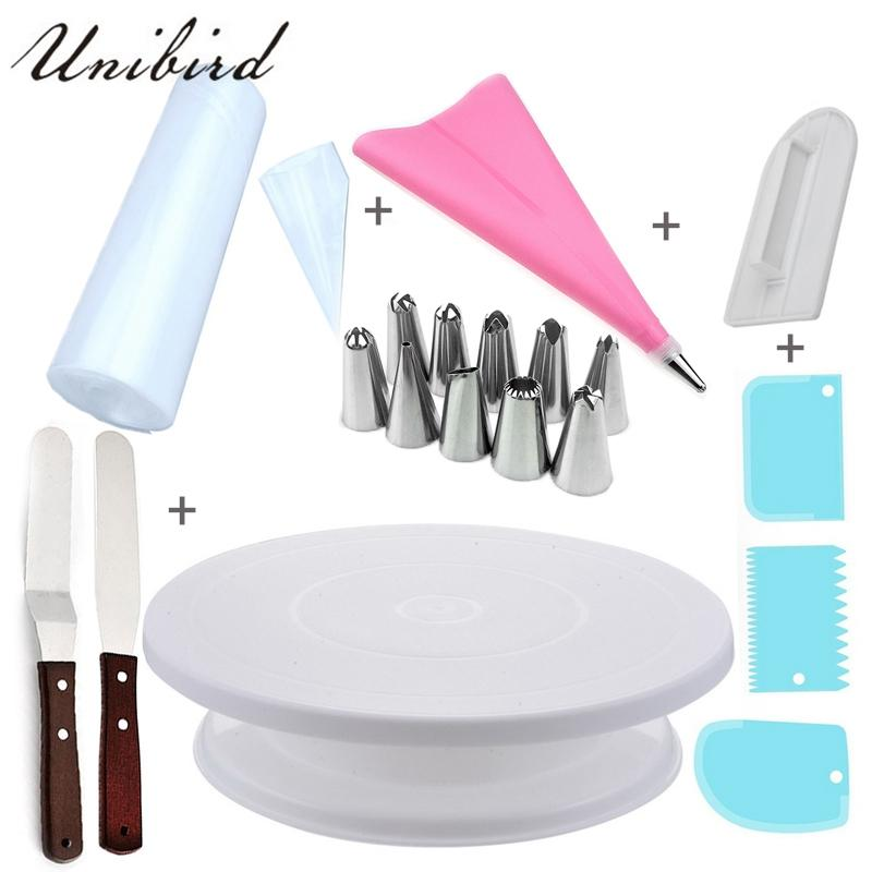 Unibird DIY Cake Decorating Tools Set Icing piping Nozzles Disposable  Pastry Bags Stainless Steel Cream Spatulas Bakeware Set