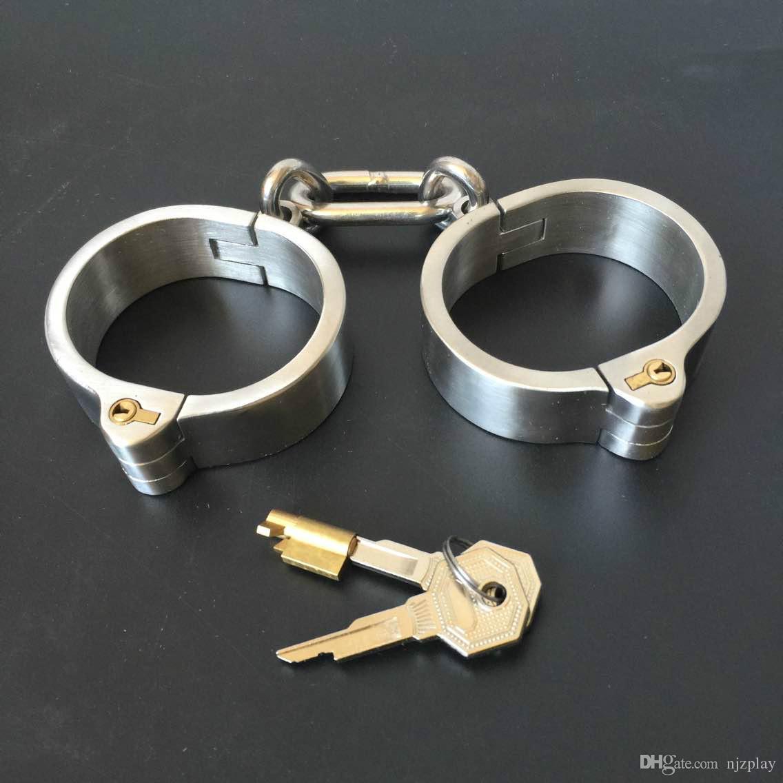 Unisex acciaio inox acciaio inox handcurffs caviglia polsini colletto Bondage Gear BDSM Giocattoli e giocattoli del sesso
