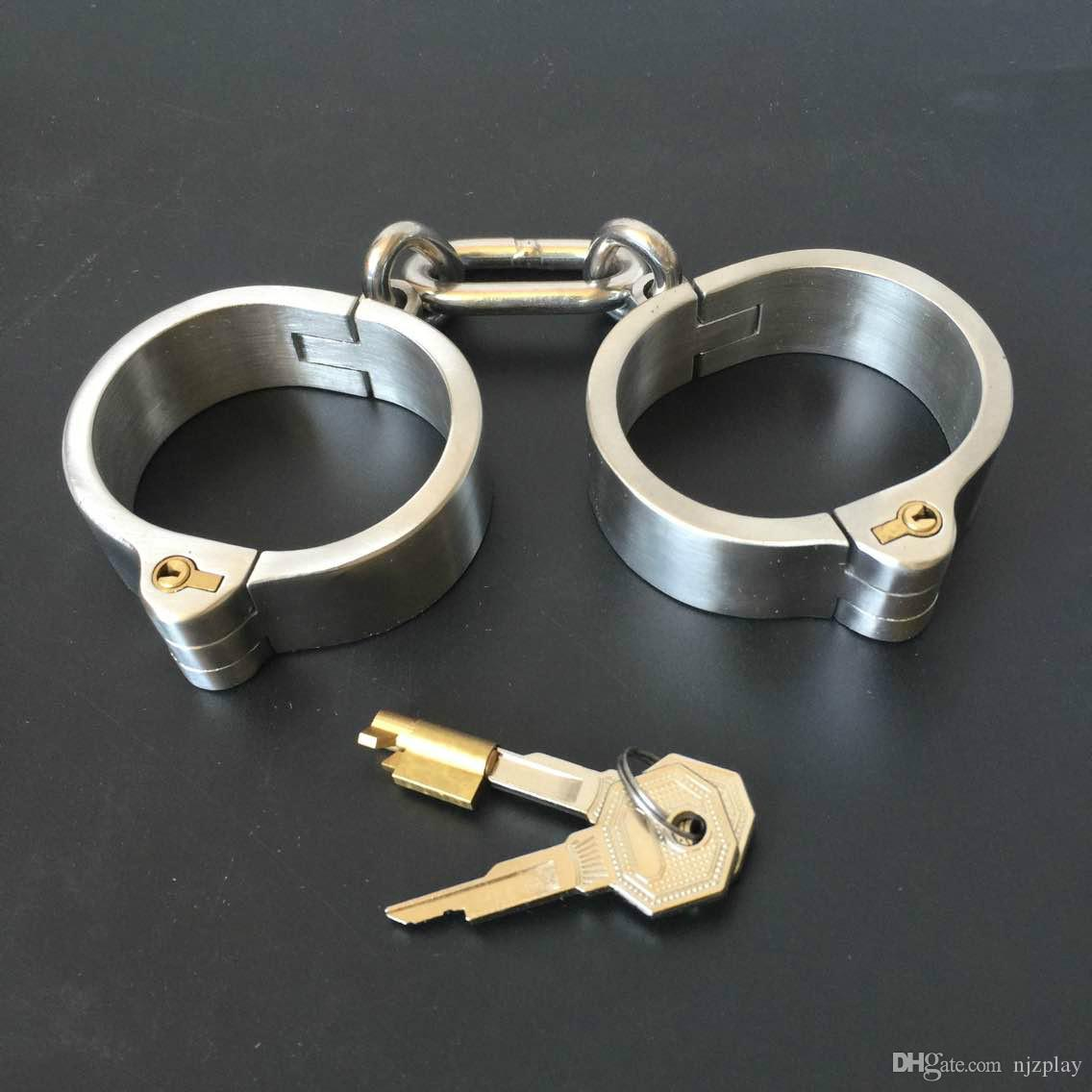 Unisex Stainless Steel Handcurffs Ankle Cuffs Collar Bondage Gear BDSM Toys And Sex Toys Fast Shipping