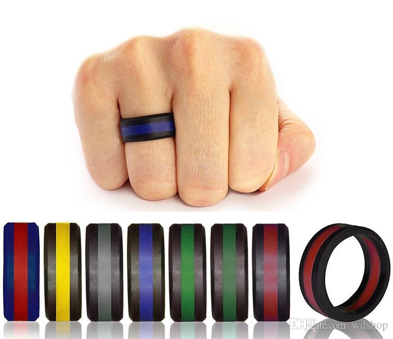 Dos tonos de anillos de silicona con diseño de llantas anillo hipoalergénico moda Crossfit goma flexible anillo flexible para la boda fiesta de compromiso