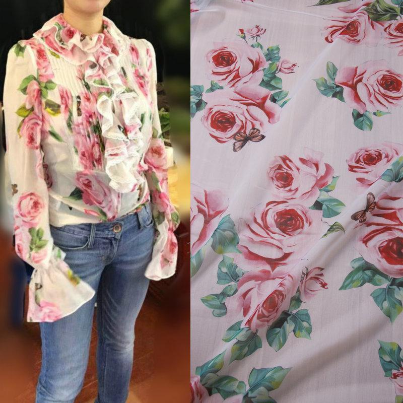 1 Meter Pink Rose Printed Chiffon Fabric Soft Thin Polyester