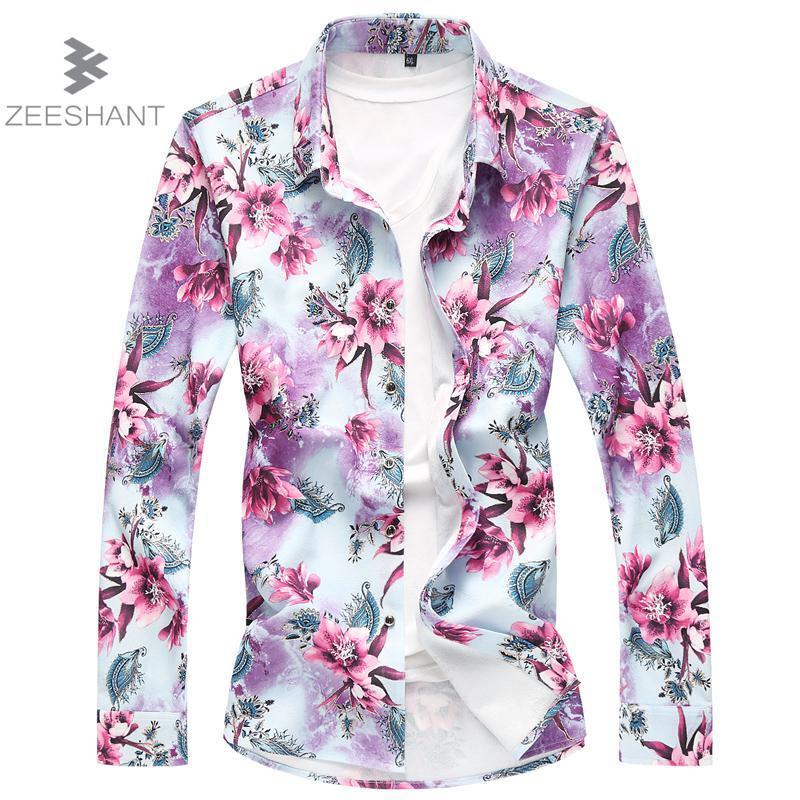 3d3e81fb ZEESHANT Fashion Brand Men Shirt Long Sleeve Flower Print Mens ...