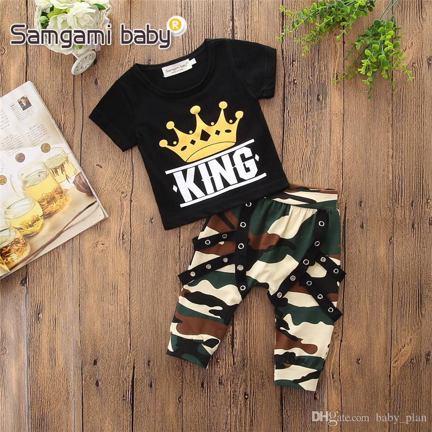 Brand baby clothing tracksuit crown printing tshirts camouflage shorts baby boy clothes sets tee pants boys clothes kids boutique clothing