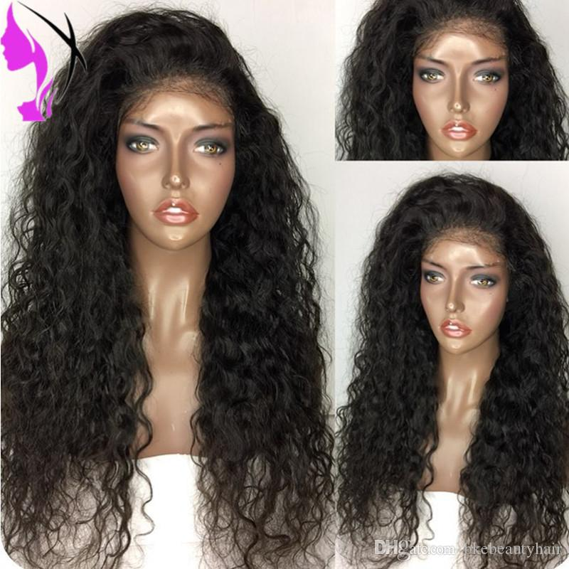 180 Density Long Curly Black Wig Glueless Heat Resistant Synthetic Lace Front Wig With Baby Hair For African American Wigs