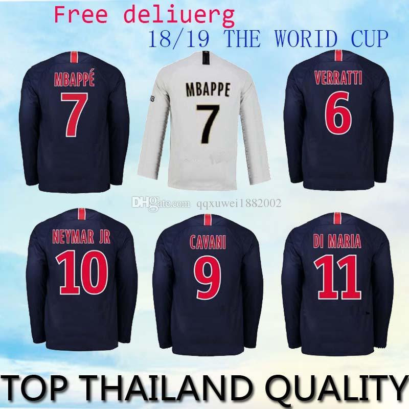 5f999f194 ... low cost 2018 psg home long sleeve soccer jerseys 2018 2019 7 mbappe paris  saint germain