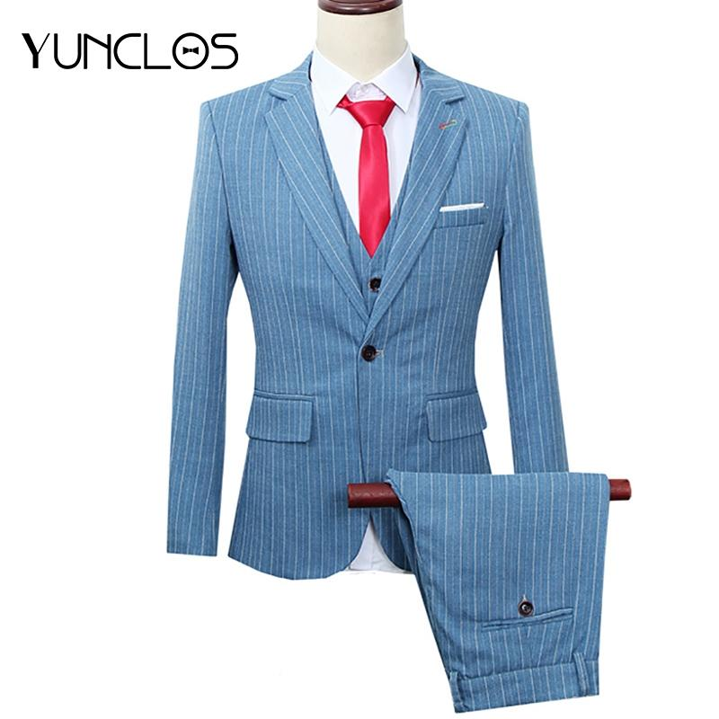 9ffb6bbf1fd 2019 YUNCLOS New Men Suit Red Striped Tuxedo Business Casual Wedding Suits  For Men Plus Size Jacket Vest Pants From Edward03