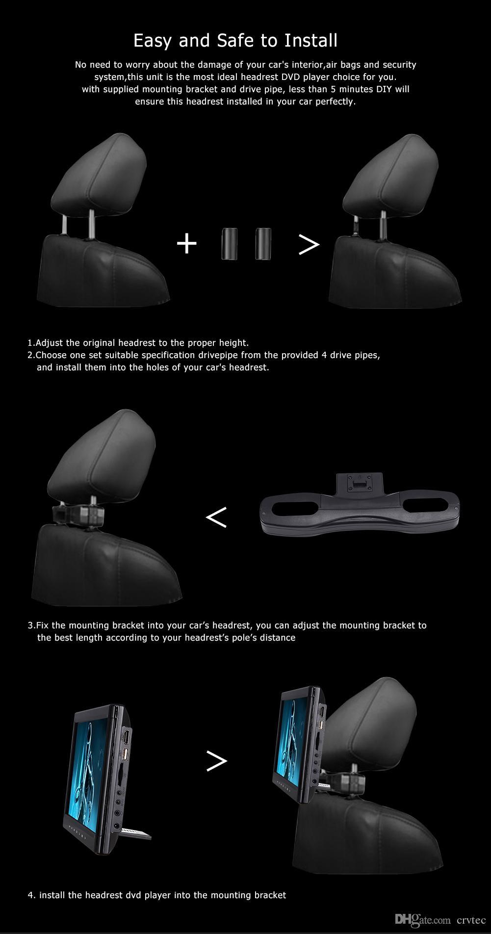 2x10.1 inch car dvd headrest portable fitting for car HD player Hdmi USB SD FM IR game car headrest holder black