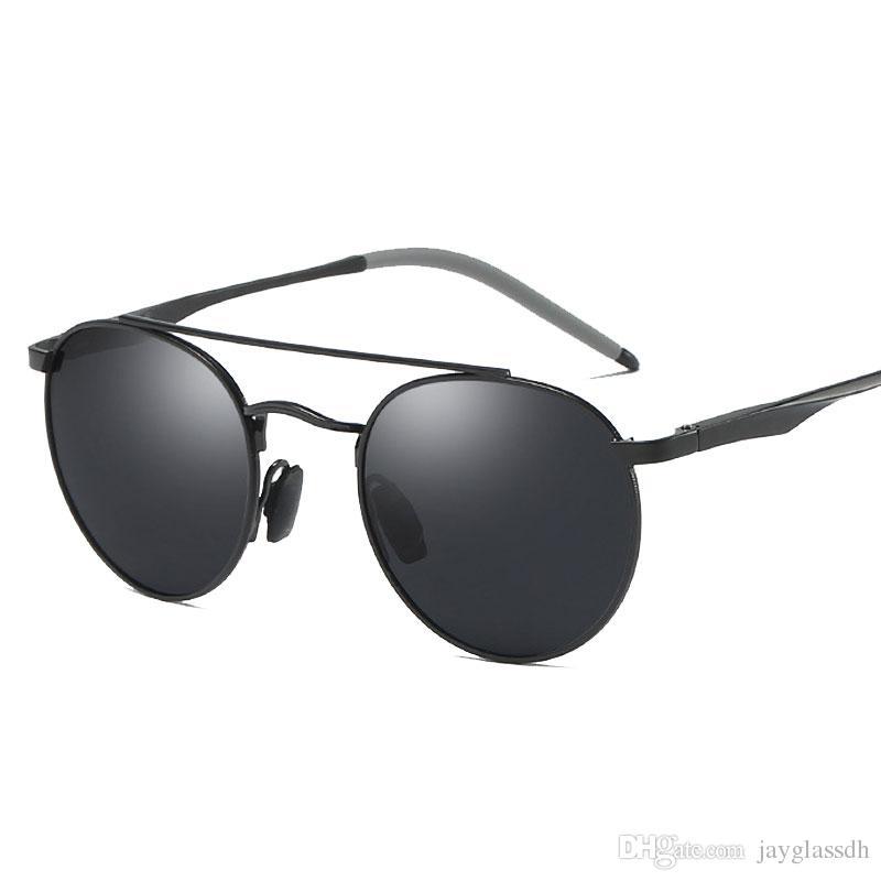 fd01b11621aa3 Compre Homens De Magnésio De Alumínio Rodada Óculos De Sol Polarizados  Homens Mulheres Do Punk Óculos Vintage Óculos De Marca De Design De  Condução Retro ...