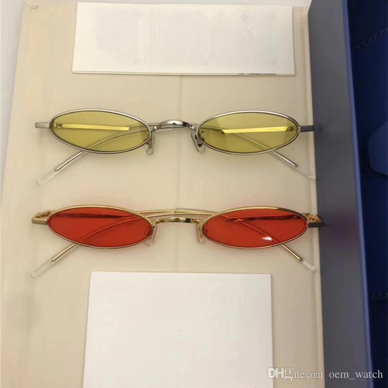16450ceb84 2018 New Avant Garde Trendy Sunglasses Small Frame Oval Style Sunglass  Yellow Red Hipster Adumbral Sun Glass Vintage Fashion Eyewear In Box Womens  ...