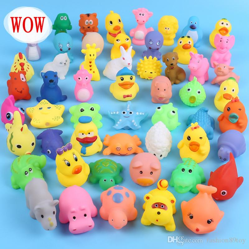 2018 Baby Bath Toys Rabbit Stars Fish Cats Sound Mini Yellow Rubber ...