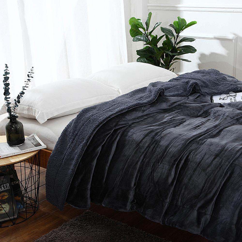 Yazi Grey Sherpa Large Warm Thick Throw Blanket Coverlet Reversible
