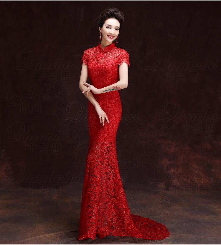 33457448a YSB521 Red Lace Cheongsam Traditional Chinese Dress Woman Bride Fashion  Evening Dress Long Qipao Vestido Wedding Qi Pao Vintage Debs Dresses Gold  Dress From ...