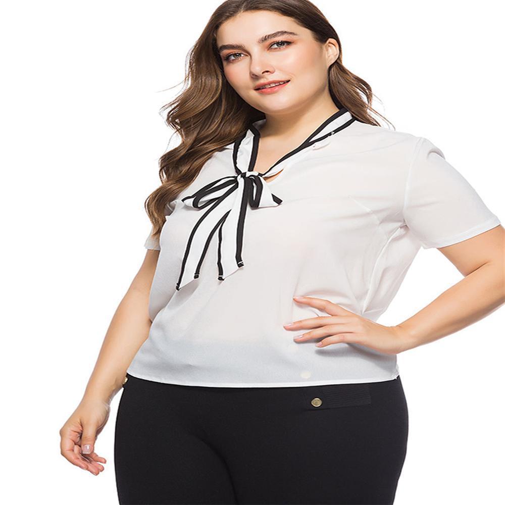 Hot Summer Autumn 2018 Plus Size 4XL White Shirt Female Big Sizes Short  Sleeve Shirt Fashion Bow Tie Chiffon Blouse Tops Blouses   Shirts Cheap  Blouses ... bdc73f65c9c8