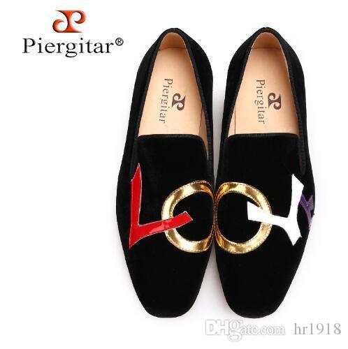 72b0eae8096 Cheap Piergitar 2018 Handmade Black Velvet Shoes with LOVE Letters Design  Fashion Party And Wedding Men Loafers Plus Size Men s Flats