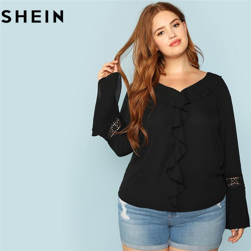 1f41363508e 2019 Wholesale Black V Neck Long Sleeve With Lace Plus Size Women Ruffle  Blouses 2018 Elegant Office Lady Solid Bell Sleeve Top Blouse From  Luzhenbao521