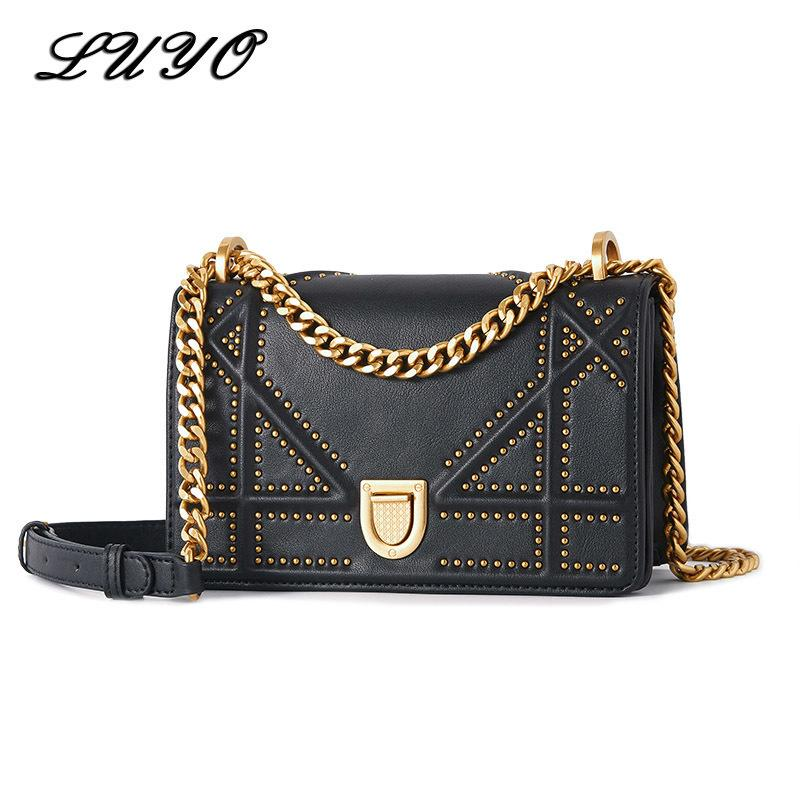 347aeab9d3 2018 New Summer Vintage Chain Rivet Genuine Leather High Quality ...