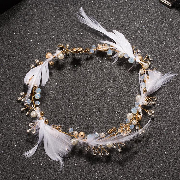 Flower feathered headdress with sweet wedding wedding dress accessories jewelry ornaments smart