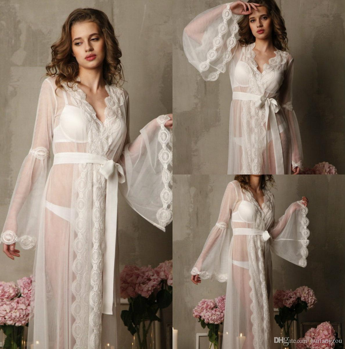 1f2b4834ec1 2019 Romantic Wedding Sleep Dresses With Long Sleeves Illusion Tulle  Delicate Lace Applique Belt Floor Length Bridal Nightgowns Custom Made From  Huifangzou