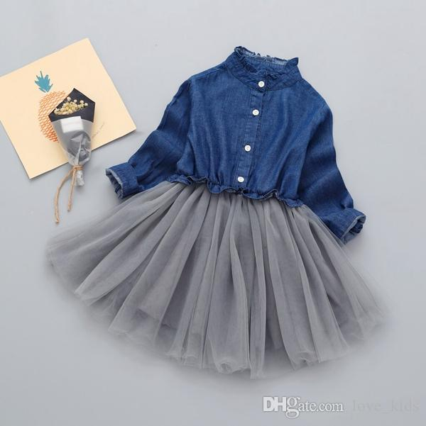 Baby Girl Dress Children long sleeve Denim Lace Dresses with button Kids Princess Autumn Dresses For Girls