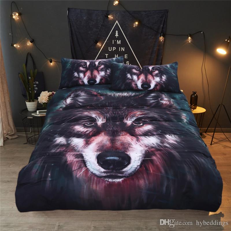 Wolf Bettwäsche Set Malerei 3D Vivid Bettbezug mit Kissenbezügen Twin Full Queen King Size Bettbezug Set Bettwäsche