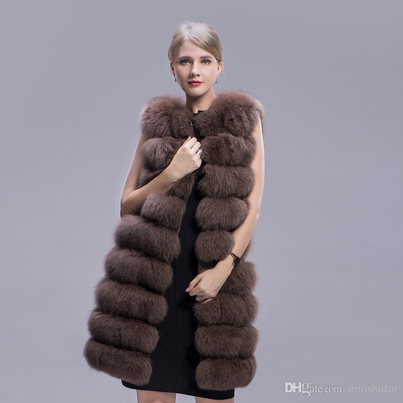 Mode Manteau D'hiver Naturel Manteau De Fourrure Réel Réel Manteau Longue 90 cm Épais Fourrure Gilet Sans Manches Outwear Fox Gilet Mme MinShu