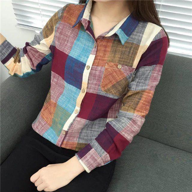 2017 neue Vintage Langarm Plaid Herbst Bluse frauen Bluse Shirts Weibliche Blusas Weiß Damen Tops Baumwolle Shirts für Frauen