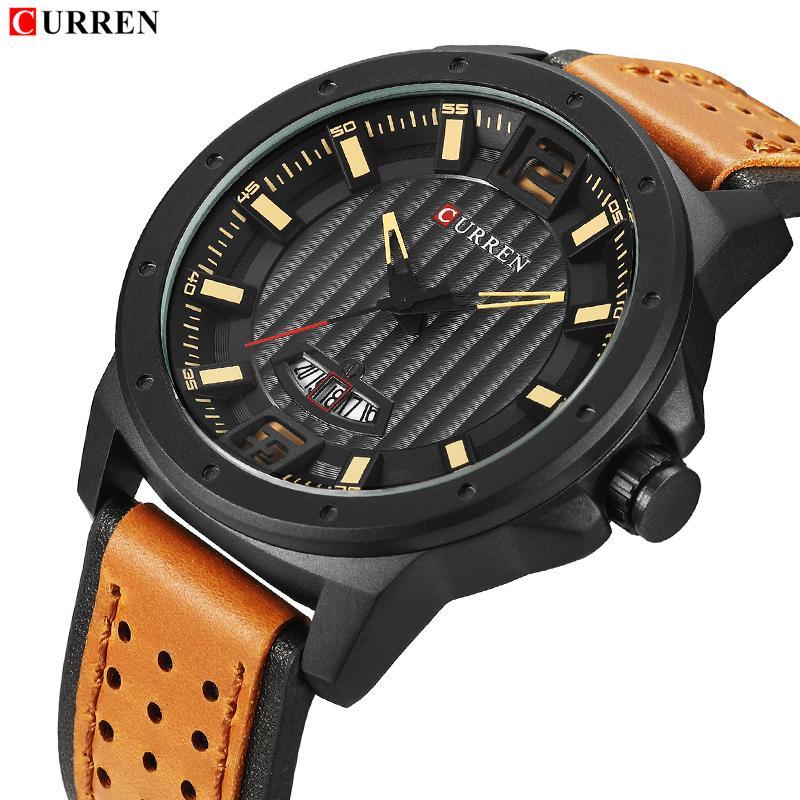 f47cc99de75 Compre 2018 Novo Relógio Homens Marca De Luxo Curren Moda Couro De Quartzo  Relógio De Pulso Dos Homens Data À Prova D  água Esportes Relógios Relogio  ...