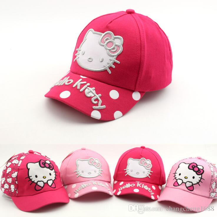 d71533903f48e 2019 Girls Baseball Cap Child Cartoon Hello Kitty Design With Letter  Embroidery Adjustable Baseball Hat Kids Cotton Chapeau F259 From  Changcheng1688