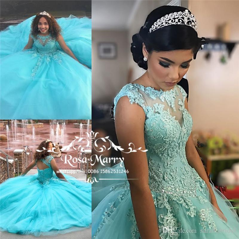 Princess Blue Sweet 16 Quinceanera Dresses 2018 Ball Gown Vintage Lace  Crystals Cheap Plus Size Vestidos 15 Anos Masquerade Prom Party Gown  Fuschia ... a6ad52ede300