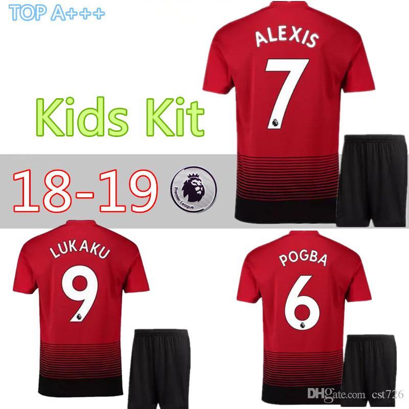 a7d81e89e MAN UTD ALEXIS UTD IBRAHIMOVIC LUKAKU Child Kids Kit Soccer Jerseys 2018  2019 HOME United Maillot POGBA Camiseta Lukaku Football Shirt Soccer Jersey  ...
