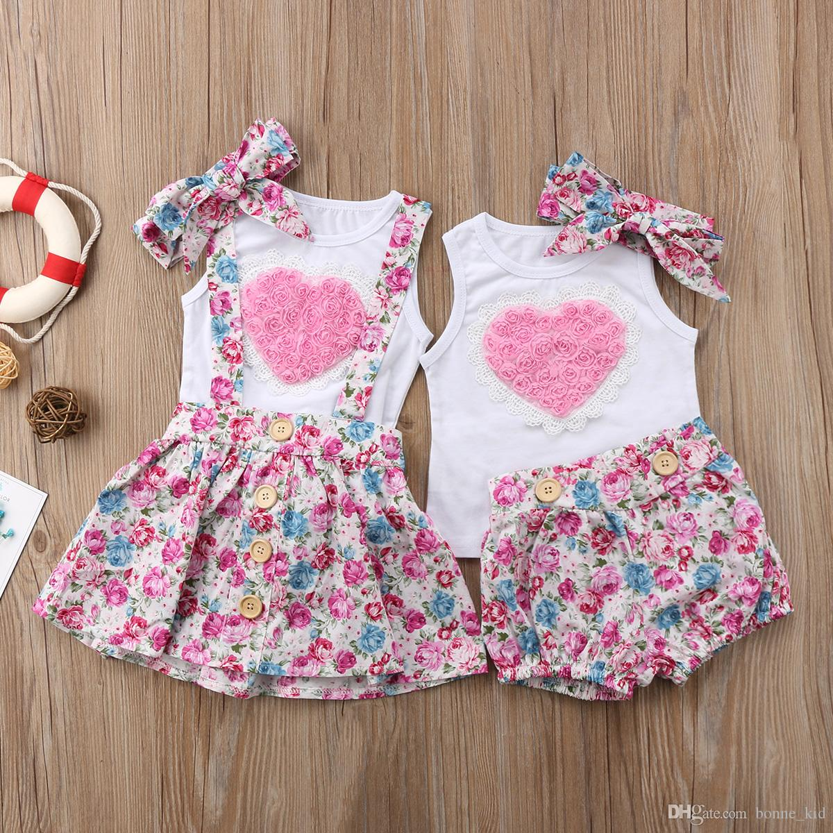 281fc6aabc71 2019 Floral Kids Baby Girls Sister Dress Outfits Clothes T Shirt Vest  Pants  Skirts Headband Set Pink Heart Family Matching Clothing Toddler From  Bonne kid