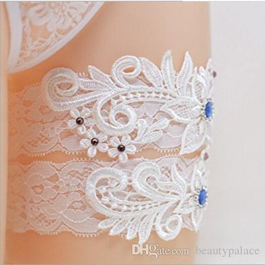 c2073b04c16 Two Pieces Set High Quality White Ivory Bridal Garter Belts With Lace Royal  Blue Beads Real Photos Wedding Garters Yellow Petticoat 1950s Petticoat  From ...