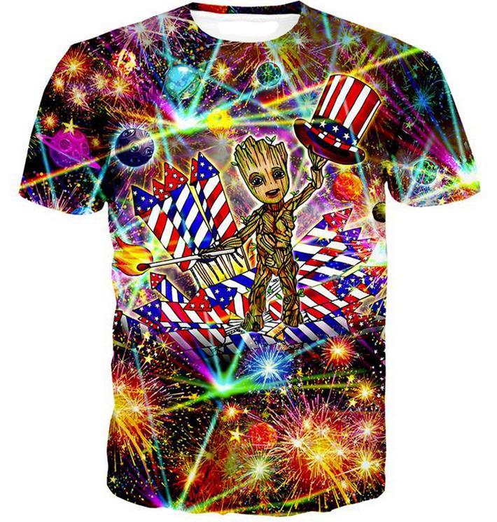 679fd5dc30d6 2018 New Fashion Women/Men Funny America Flag Groot 3D Print Casual T-Shirt  US02