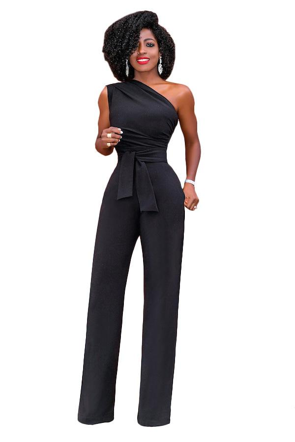 a0c006f45c3b 2019 Pants Jumpsuit Womens One Shoulder Wide Leg Bandage Bodycon Rompers Womens  Jumpsuit Long Half Sleeve Club Party Full Overalls From Dayup