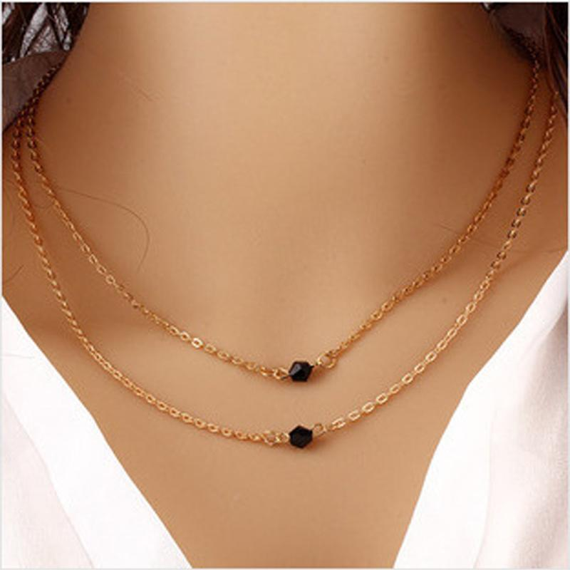 bd5080e58cb7b New Gold Black Beads Lariat Necklaces Long Strip Double Layers Chain Black  Beads Pendants Necklaces Clavicle Chain Women 8C1090