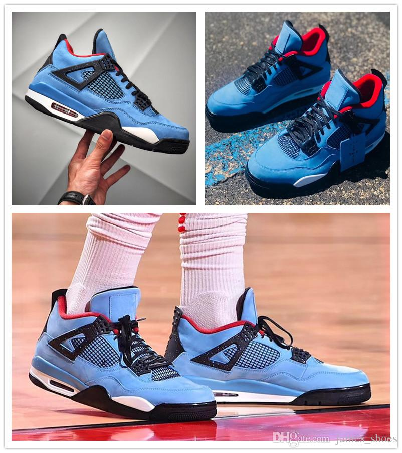 85240be21bae9b 2018 New  23 Jumpman 4 IV Travis X Houston University Blue Black Red Casual  Zapatillas Shoes For Men 4s Designer Sports Sneakers 40 47 Ladies Shoes  Loafers ...
