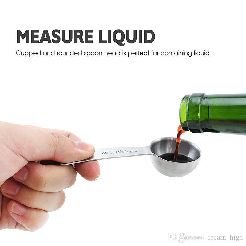 Conjunto de 6 colheres de medição de aço inoxidável para medição de ingredientes secos e líquidos ferramenta de suprimentos de cozinha