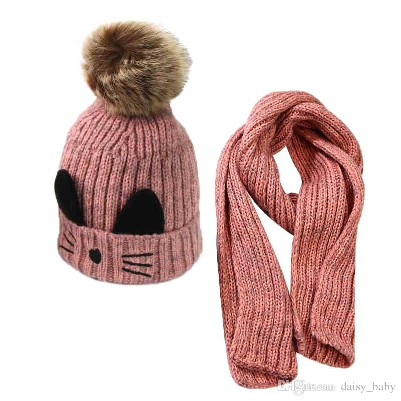 cae5782c00a 2019 Boys Baby Hat Scarf Set Girl For Kids Knit Fur Beanie Cap And Scarves  Warm Winter Wear Suit Cat Design Hat Accessories MZ5300 From Daisy baby