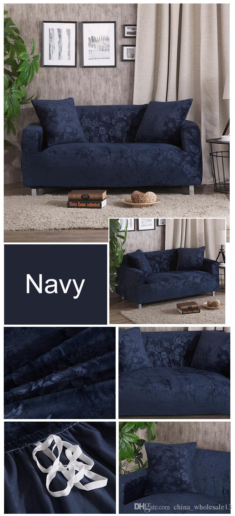 Velvet Fabric Emboss Embroidered Sofa Cover Luxury Slipcover ...