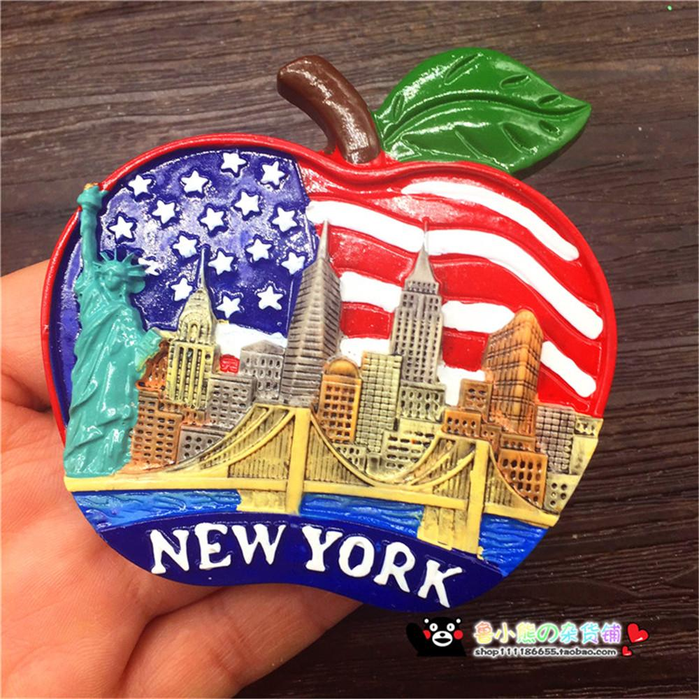 New design big apple new york city us statue of liberty fridge magnet refrigerator stickers tourist souvenirs home decoration refrigerator custom
