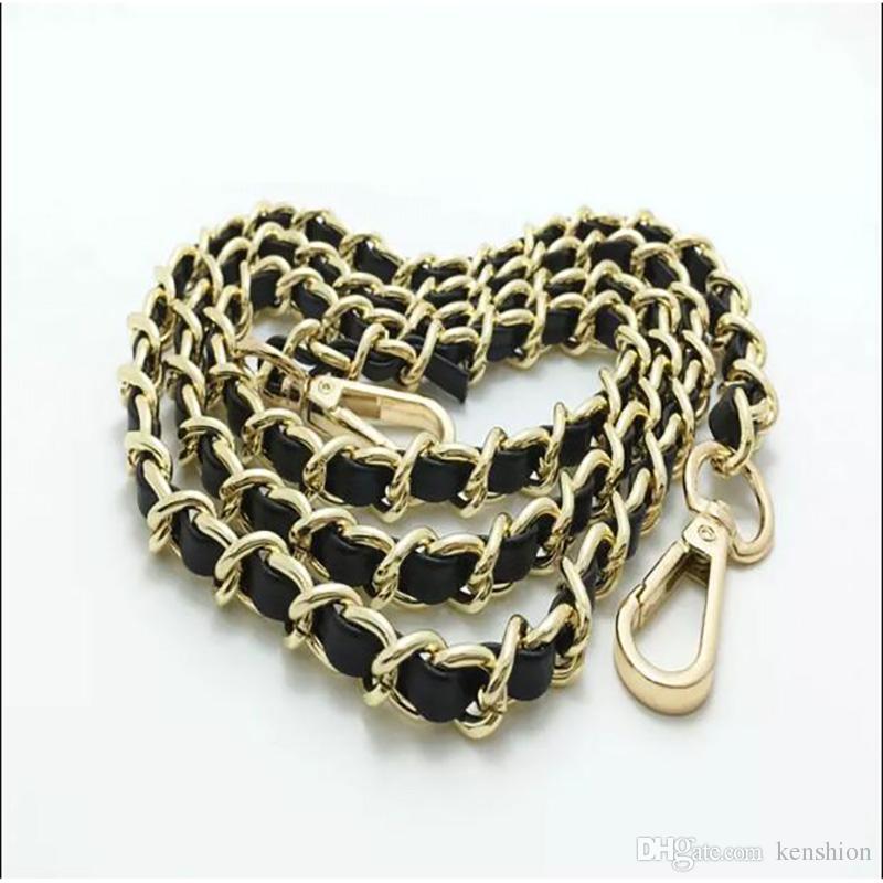 Bolsa de correas de hombro cadena de correa de cuero usable multicolor personalizar accesorios de cadena de moda portátil de metal para bolsos de noche y bolso