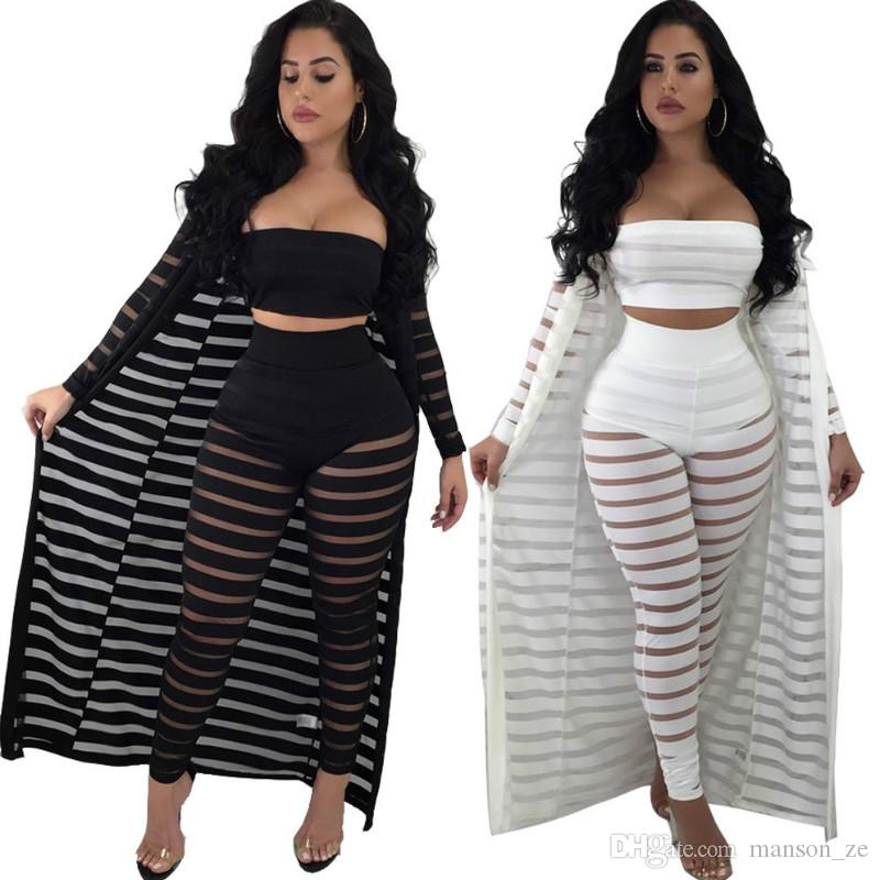 27f7a1d9e8d 2019 New Novelty Striped Sets Women Set Long Pants Bodycon Lace Set Casual  Outfits Long Cloak Overalls Strapless Wear And Long Pants From Manson ze