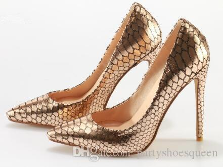 2018 Hot Selling Pointed Toe Stiletto Heel Women Shoes Gold Snake Leather Thin High Heels Party Shoes Slip-on Women Pumps