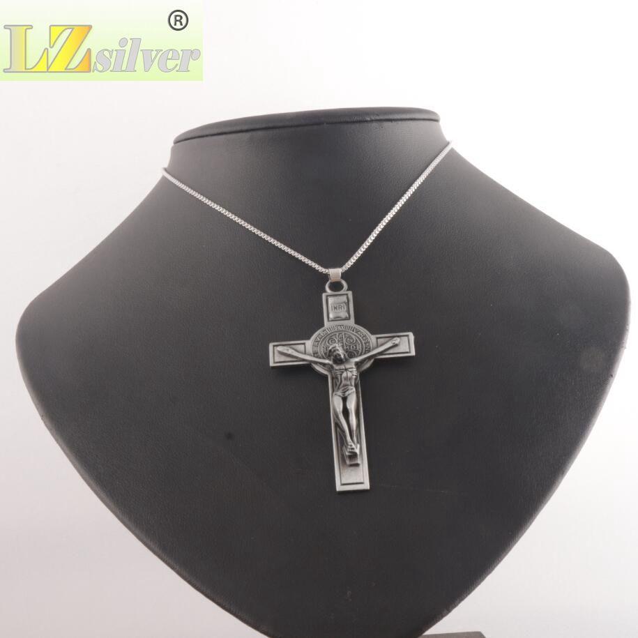 Sıcak Takı Aziz Benedict Madalya Katolik Haç İncil Namaz Çapraz Kolye Erkekler Kolye Zinciri 24 inç N1783