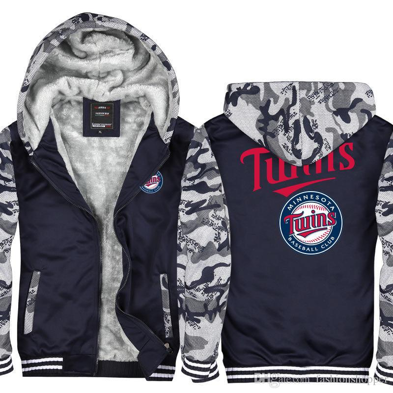 newest 404ec 61cd7 Camouflage Minnesota twins logo Men Women Winter Hoodie Zipper Jacket  Sweatshirt Thicken Cardigan Coat Tracksuit Pullovers Top USA EU Size